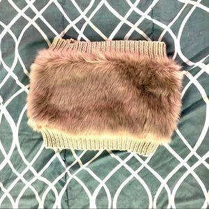 NEW CABIN FEVER furry beige neck warmer